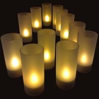 Set de 12 bougies à led rechargeables couleur flamme