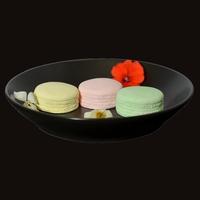 Diffuseur Plâtre à Parfumer Macaron et Soucoupe ronde noire