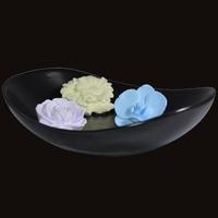 Diffuseur Plâtre à Parfumer Floral et Soucoupe ovale noire