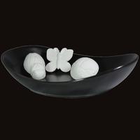 Diffuseur Plâtre à Parfumer Nature et Soucoupe ovale noire