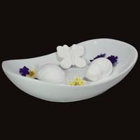 Diffuseur Plâtre à Parfumer Nature et Soucoupe ovale blanche