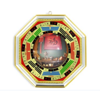 Miroir Pa Kua convexe doré 15 cm