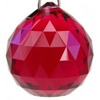 Lot de 5 Boules  de cristal rouge 2cm