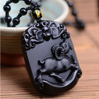 Pendentif Astrologie Boeuf en Obsidienne