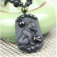 Pendentif Astrologie Chien en Obsidienne