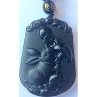 Pendentif Astrologie Lapin en Obsidienne