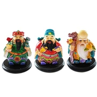 3 dieux du bonheur Fuk Luk Sau peints à la main