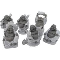 Bouddhas des six bonheurs noir en pierre
