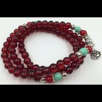 Collier en Agate rouge turquoise du Bouddha rieur