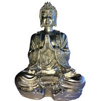 Bouddha en méditation chromé argent