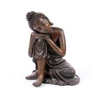 Bouddha penseur effet bois