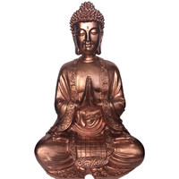 Grand bouddha Cuivre gold rose en méditation