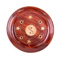 Porte-encens en sheesham yin yang