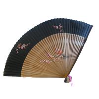 Eventail bambou et soie noir et marron