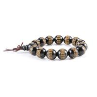 Bracelet porte bonheur : Mala noir en bois de rose (Protection et Eveil spirituels)