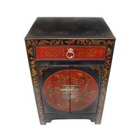 Table de chevet chinoise rouge et noire