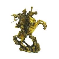 Kwan Kung, dieu de la richesse sur son cheval en bronze