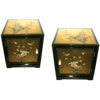 Table de chevet hévéa Laque de Chine dorée