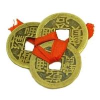 Véritables pièces Qian Lung, amulette de richesse en bronze