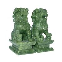 Couple de lions feng shui en jade