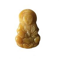 Amulette Kwan yin en jade jaune