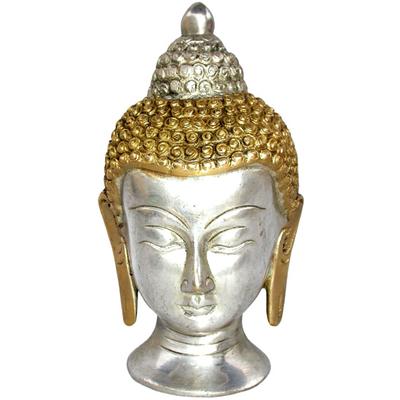 Tête de Bouddha en bronze plaqué argent