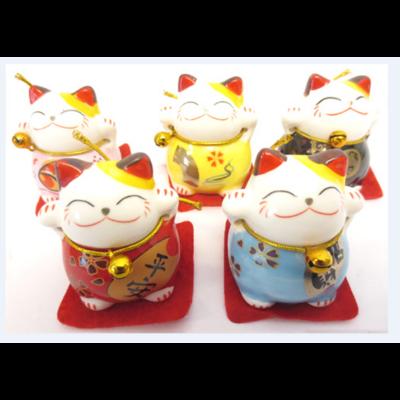 Collection de 5 Maneki Neko du bonheur