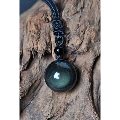 Collier Pendentif Protection spirituelle : Obsidienne noire