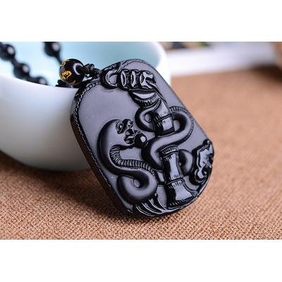 Pendentif Astrologie Serpent  en Obsidienne