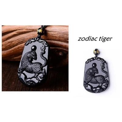 Pendentif Astrologie Tigre en Obsidienne