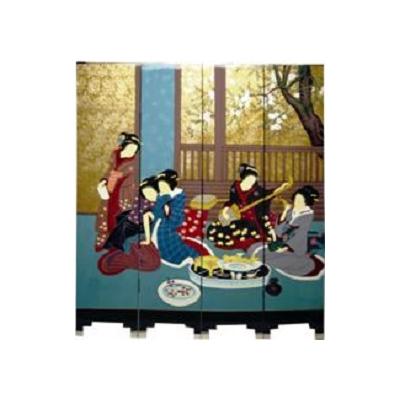 Paravents geisha : la musicienne