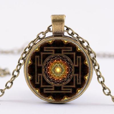 1.Pendentif indien magie yantra talisman amulette