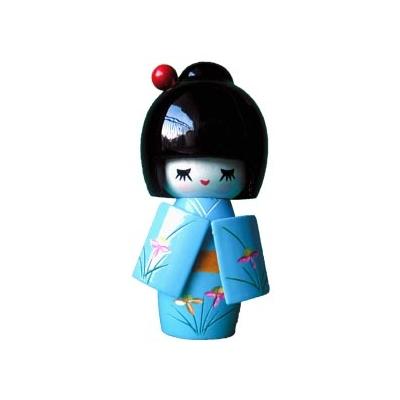 Poupée japonaise kokeshi bleue