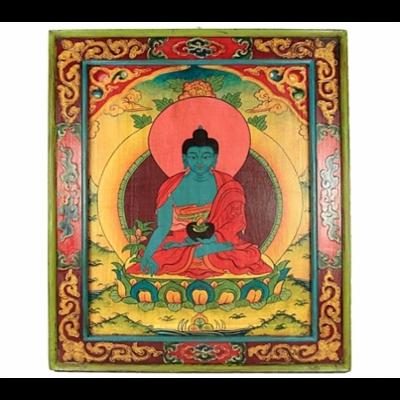Tableau en bois : Bouddha Médecine