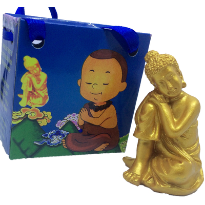 Bouddha Penseur Doré en pochette cadeau