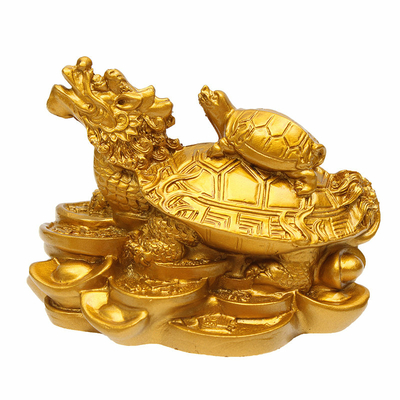 2.Or-Feng-Shui-Dragon-Tortue-Tortue-richesse-carriere