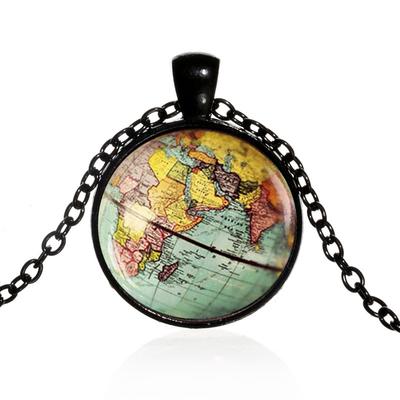 Pendentif-Globe-terrestre-feng-shui-Collier-Terre-Carte-Du-Monde-bijoux-porte-bonheur-Noir