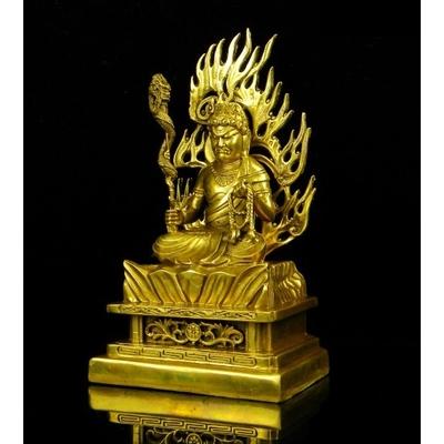 2.Statutte-bronze-doré-or-fudo-myo-nin-jutsu-shugendo-bouddha-japon