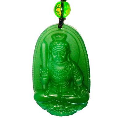 Pendentif Fudo Myo en jade : Protection policiers, pompiers, pratiquants d?arts martiaux