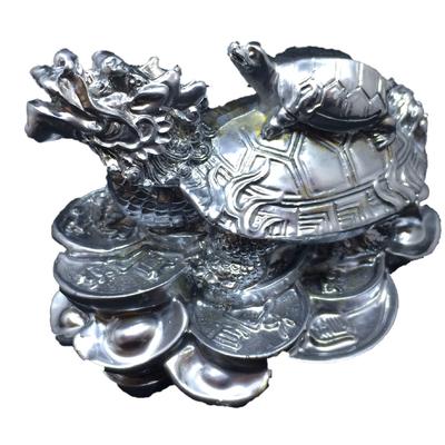 2.tortue dragon argenté-chromé- feng shui 2