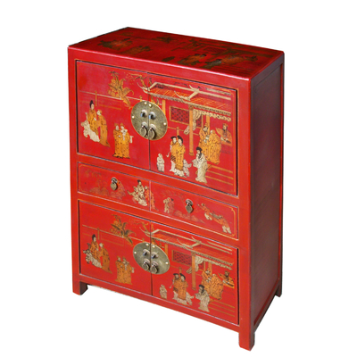 Meuble de rangement chinois rouge collection Ming