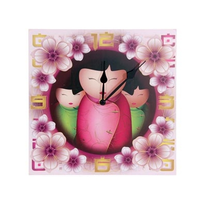 Horloge poupée Kokeshi