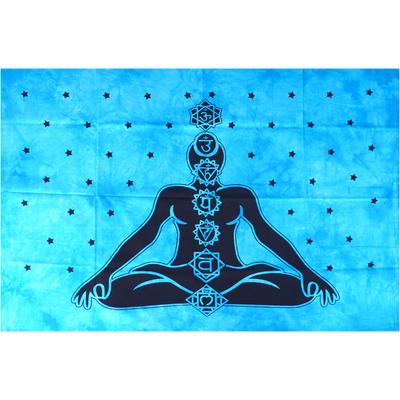 Tenture bleue: Méditation et 7 Chakras