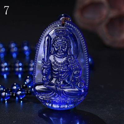 Pendentif Fudo Myoo bleu cristal : Protection policiers, pompiers, Budo