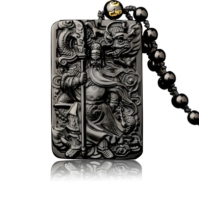 Pendentif Protection & Richesse : Amulette Kwan Kung en obsidienne