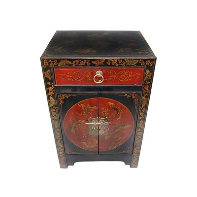table de chevet chinoise rouge et noire collections collection cit xian magie d 39 asie. Black Bedroom Furniture Sets. Home Design Ideas