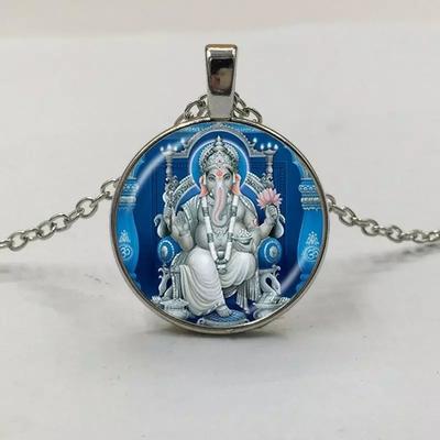 Pendentif Argent Ganesh Bleu