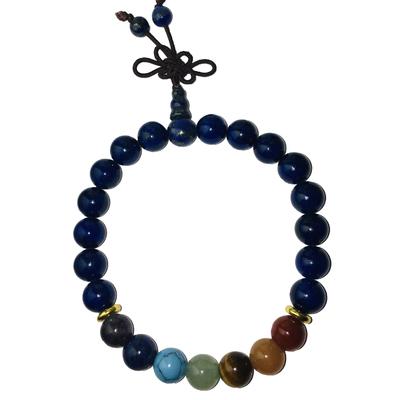 Véritable Bracelet Mala Lapis Lazuli & 7 Chakras : santé physique, mental ou spirituel & libération de la parole & de l'expression de soi