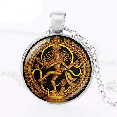 Pendentif Shiva Nataraja porte-bonheur argent
