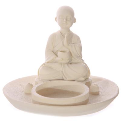 Porte encens bouddha bougeoir effet moine